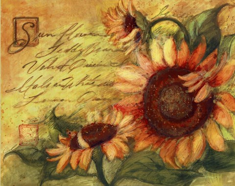 Sunflowers On Gold Fine Art Print By Susan Winget At