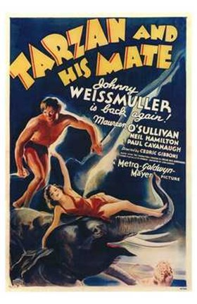 Framed Tarzan and His Mate, c.1934 - style A Print
