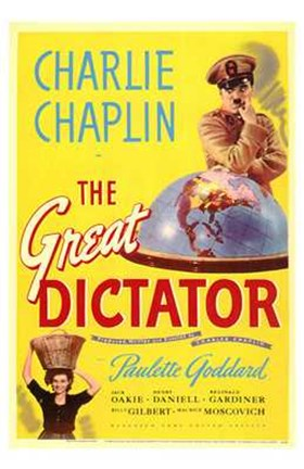 Framed Great Dictator - Charlie Chaplin Print