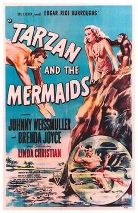 Framed Tarzan and the Mermaids, c.1948 Print