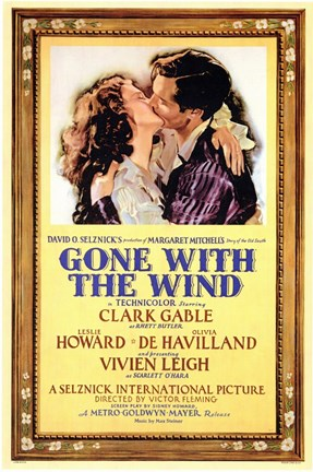Framed Gone with the Wind Framed Kissing Movie Advetisement Print