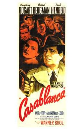 Framed Casablanca Vertical Movie Cast Print