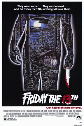 Framed Friday the 13th - Jason Silhouette Campsite Print