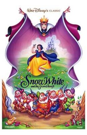 Framed Snow White and the Seven Dwarfs Cast Print