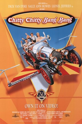Framed Chitty Chitty Bang Bang - flying car Print