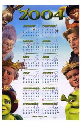 Shrek 2 Calendar 2004 Wall Poster By Unknown At Fulcrumgallery Com