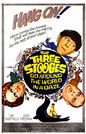 Framed Three Stooges Go Around the World in a D Print