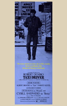Framed Taxi Driver Blue Vertical Print
