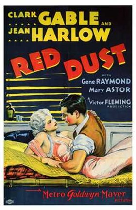 Framed Red Dust Gable and Harlow Film Print