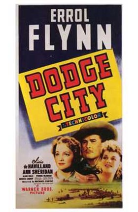 Framed Dodge City Errol Flynn Print