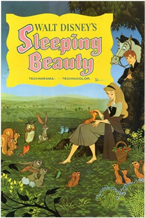 Framed Sleeping Beauty with Forest Creatures Print