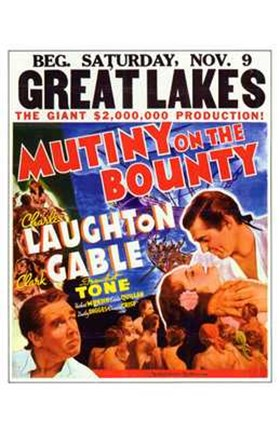 Framed Mutiny on the Bounty Gable Laughton Print