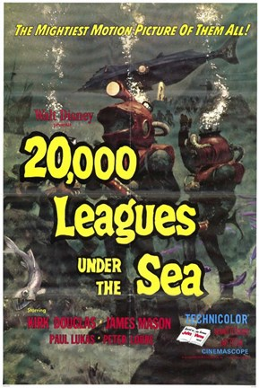 Framed 20000 Leagues Under the Sea Movie Print