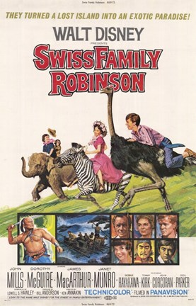 Framed Swiss Family Robinson Lost Island Print