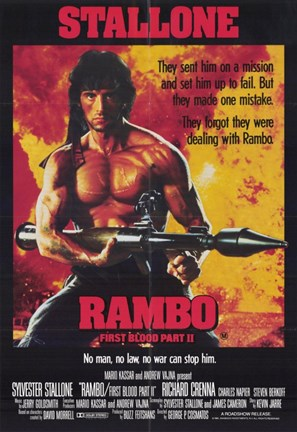 Framed Rambo: First Blood  Part 2 Stallone Print