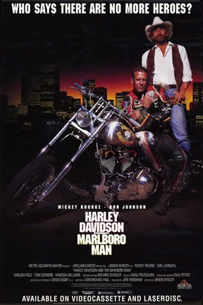 Framed Harley Davidson and Marlboro Man Mickey Rourke Print