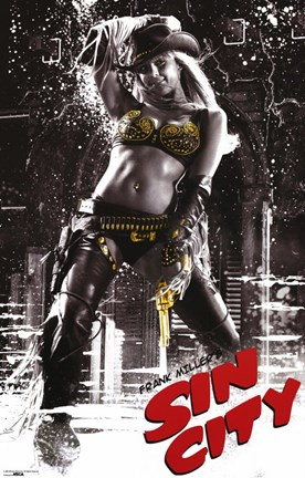 Framed Sin City Gold Cowgirl Print