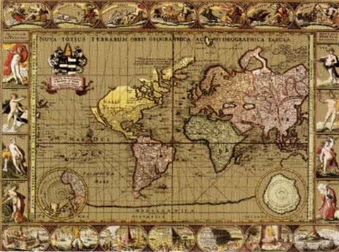 Nova Orbis III, World Map, c.1500's (Gold Foil) Fine Art Print by