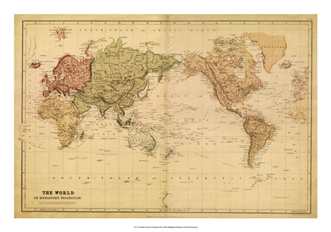 Framed Map of the World, c.1800's (mercator projection) Print
