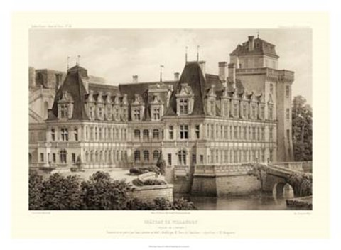 Framed Sepia Chateaux IV Print