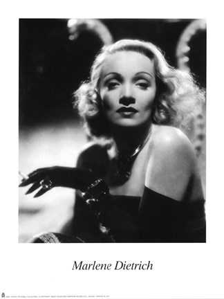 Framed Marlene Dietrich - Black and white Print