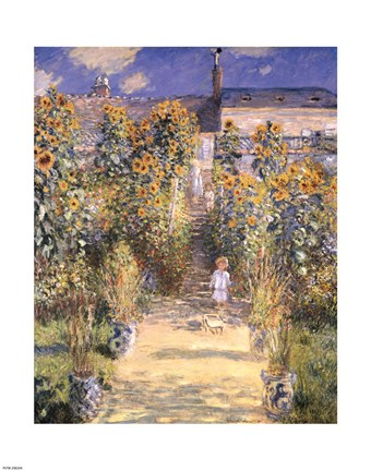 Framed Artist's Garden at Vetheuil with Boy, c.1880 Print