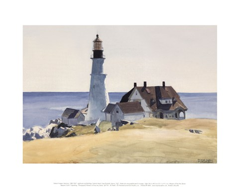 Framed Lighthouse and Buildings, Portland Head, Cape Elizabeth, Maine, 1927 Print