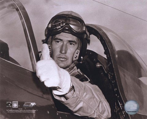 Framed Ted Williams - Fighter Pilot (sepia) Print