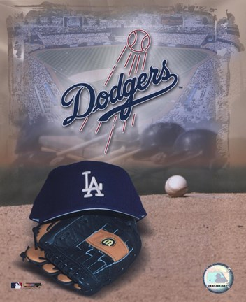 Framed Los Angeles Dodgers - '05 Logo / Cap and Glove Print