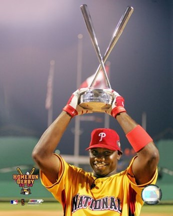 Framed Ryan Howard - 2006 Home Run Derby / With Trophy Print