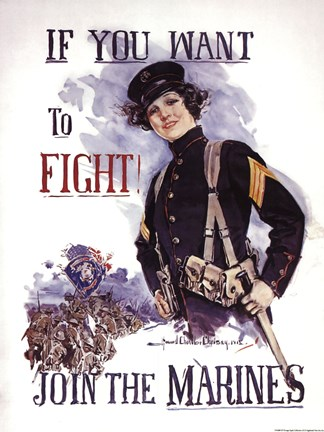 Framed If You Want to Fight! Join the Marines Print
