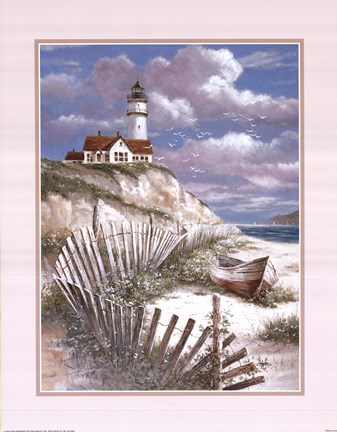 Framed Lighthouse With Deserted Canoe Print