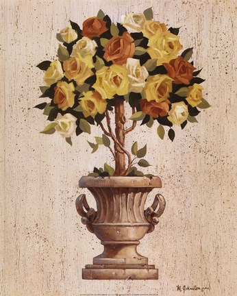 Framed Yellow And Orange Rose Topiary Print