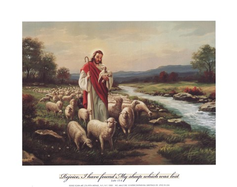 Jesus The Shepherd Verse Fine Art Print By Myung Bo At