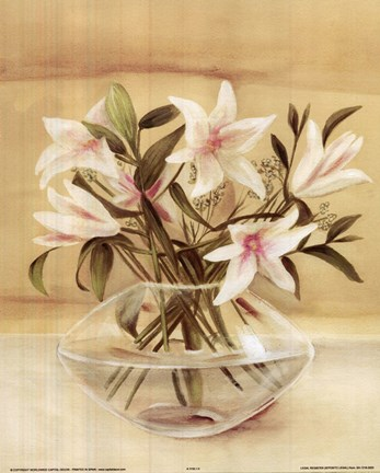 Framed White Pink Lilies In Vase Print