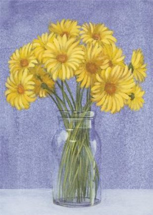 Framed Yellow Daisies In Vase Print