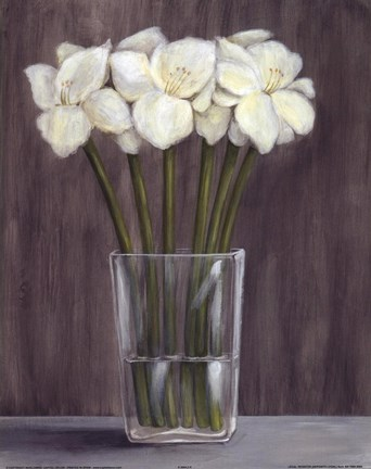 Framed White Flowers In Vase Print