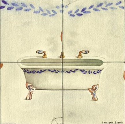 Framed Bathtub With Purple Design Print