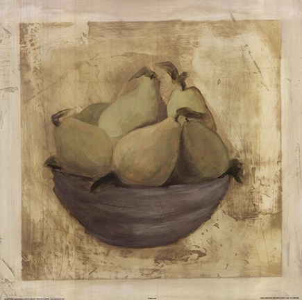 Framed Bowl Of Pears Print