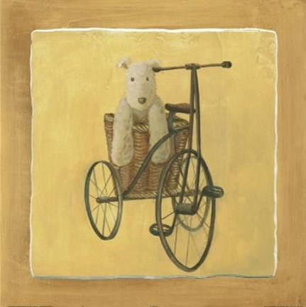 Framed Bear In Basket On Bike Print