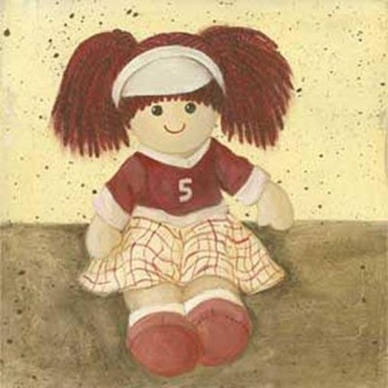 Framed Doll With Red Hair Pigtails Print