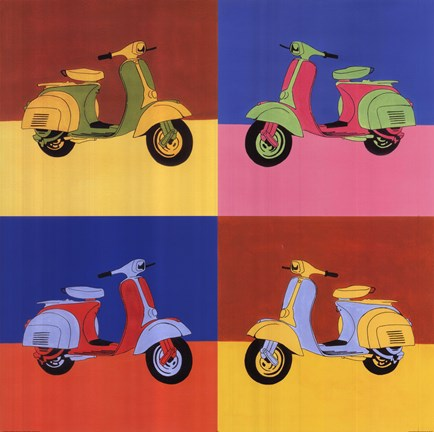 Framed Four Motor Scooters Print