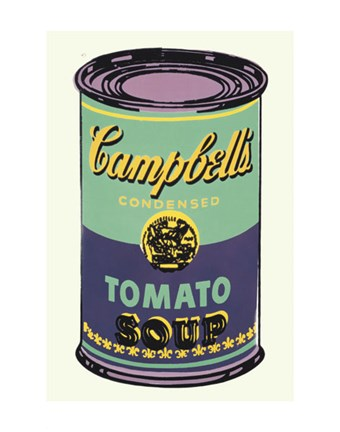 Framed Campbell's Soup Can, 1965 (green & purple) Print