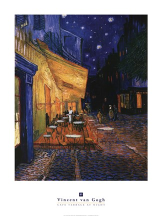 Framed Cafe Terrace on the Place du Forum, Arles, at Night, c.1888 Print