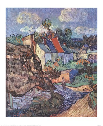Framed Houses at Auvers, c.1890 Print