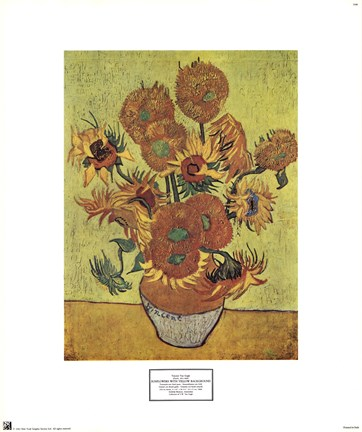 Vase With Fifteen Sunflowers C1888 Fine Art Print By Vincent Van