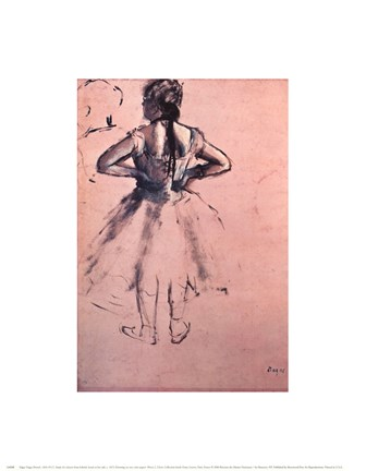 Framed Study of Dancer from Behind, Hands at her Side. c.1873 Print