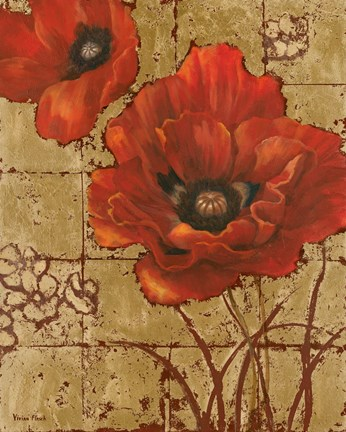 Framed Poppies on Gold II Print