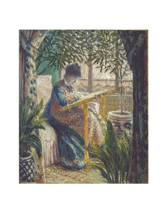Framed Madame Monet Embroidering, c.1875 Print