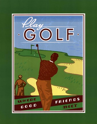 Framed Play Golf Print